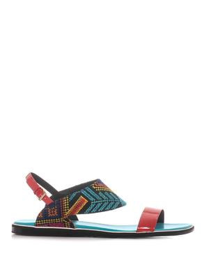 Mexican embroidered and leather sandals
