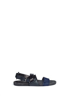 Mix leather double-strap sandals