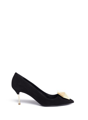 Hexagon plexiglas jewel suede pumps