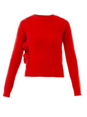 Tie-side wool sweater