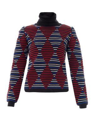 Diamond intarsia-knit stripe sweater