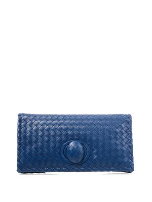 East West intrecciato leather clutch
