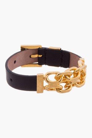Alexander Mcqueen Black Leather Skull And Chain Bracelet