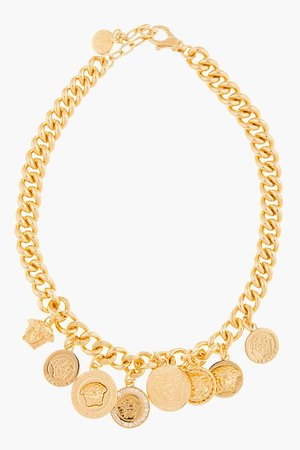 Versace Gold Emblem Charm Necklace