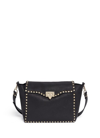 Rockstud flap leather satchel