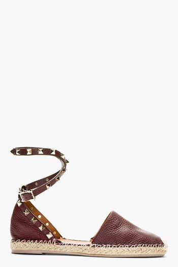 Valentino Maroon Grain Leather Studded Espadrille Flats